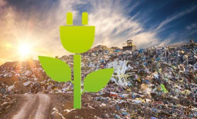 a photo of a trash dump and an image of a green, leafed power plug in the center amid the arrival of trash-to-energy technology in the United States