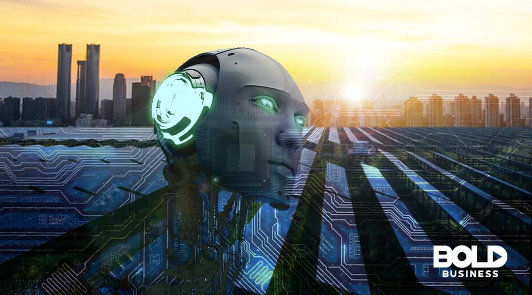 robotic head above solar panel field