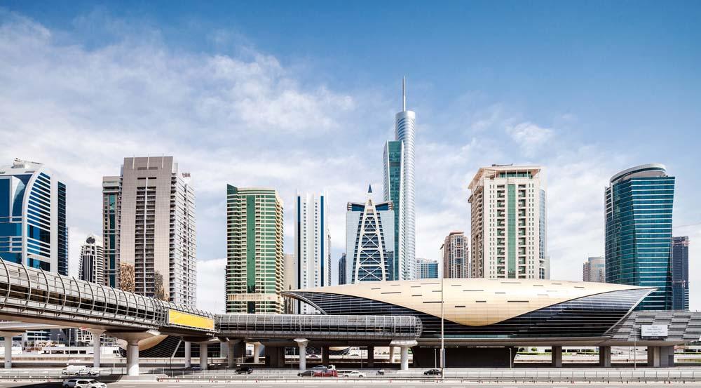 Futuristic city skyline