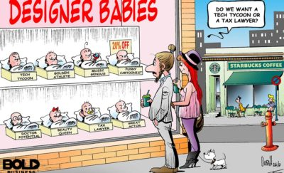 Cartoon of parents in front of a store window displaying babies with tags like