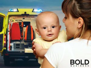 Mother, infant and an emergency vehicle.