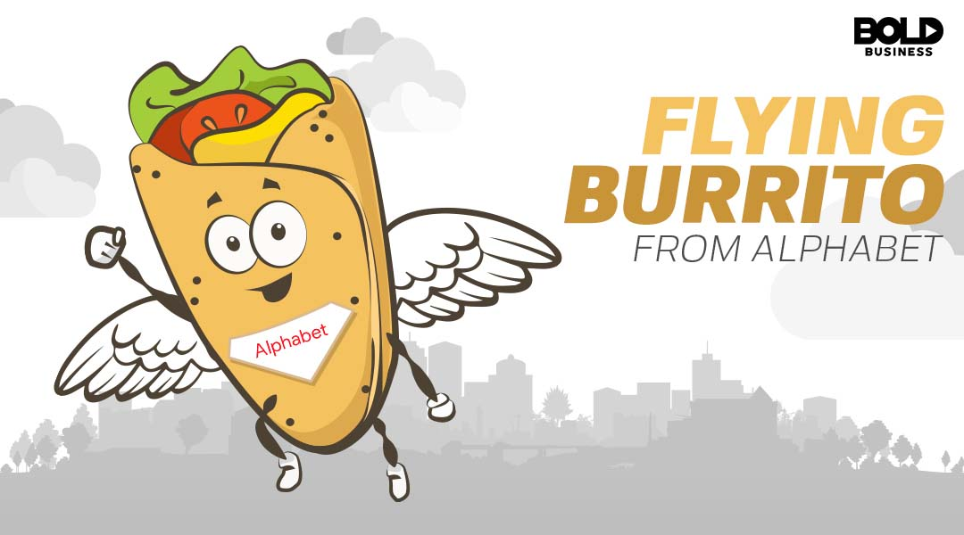 cartoon of a burrito flying with wings illustrating google drone delivery service
