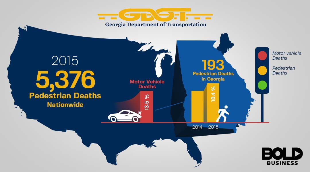 Map and graphic displaying number of pedestrian deaths