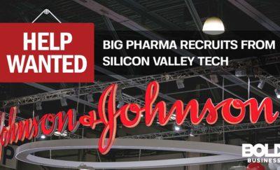 Johnson and Johnson logo next to Big pharma recruiting from IT help wanted sign