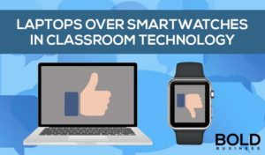 Laptop and smartwatch with thumbs up and down, result from Technology Needs Survey For Teachers