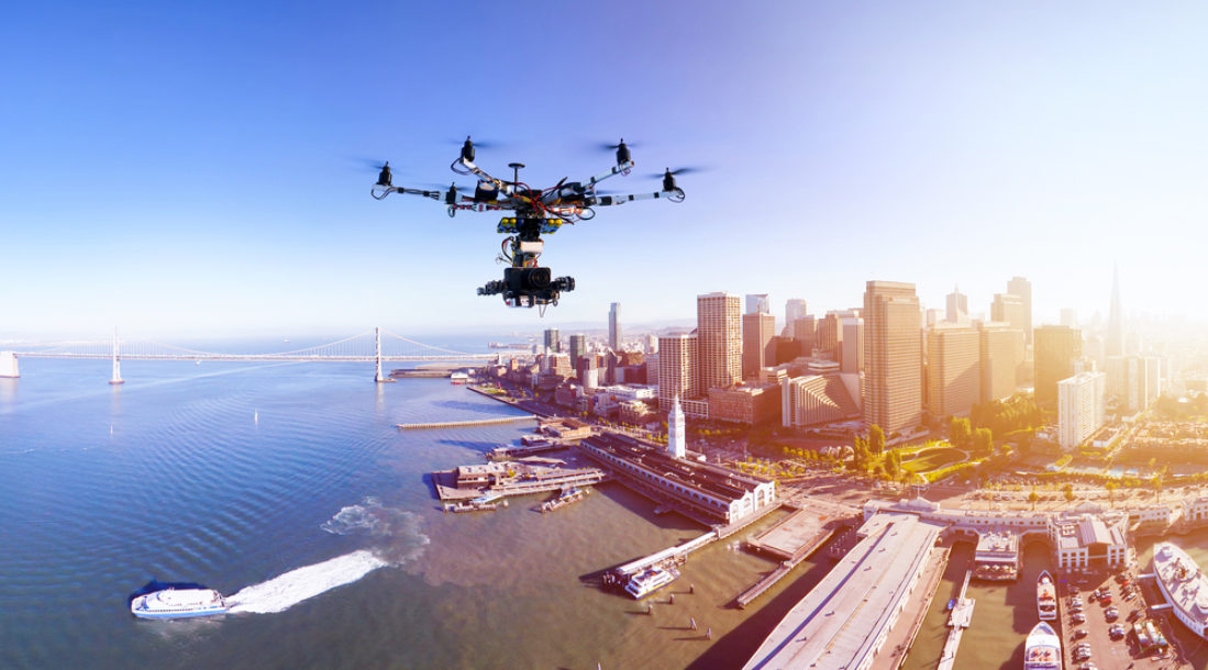 Rise of the Drones flying over the city