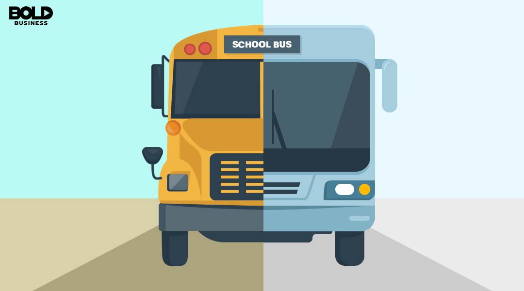 Graphic of a current school bus and a modern school bus.