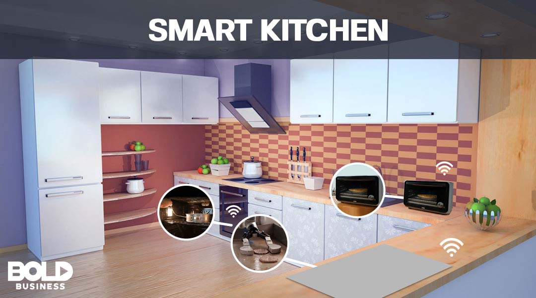 Kitchen of the future with connected appliances highlighted