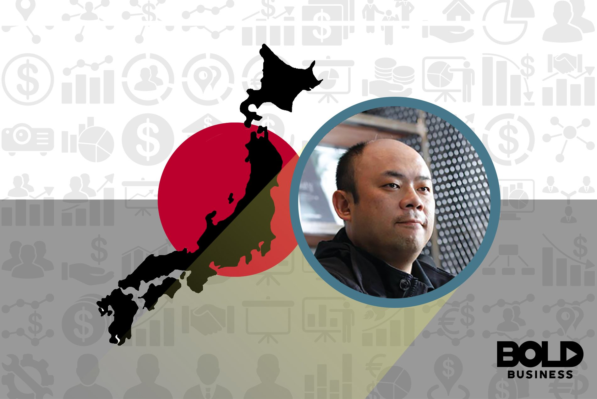 Japan map, flag and Taizo Son