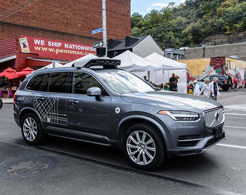 Uber self driving cars being tested
