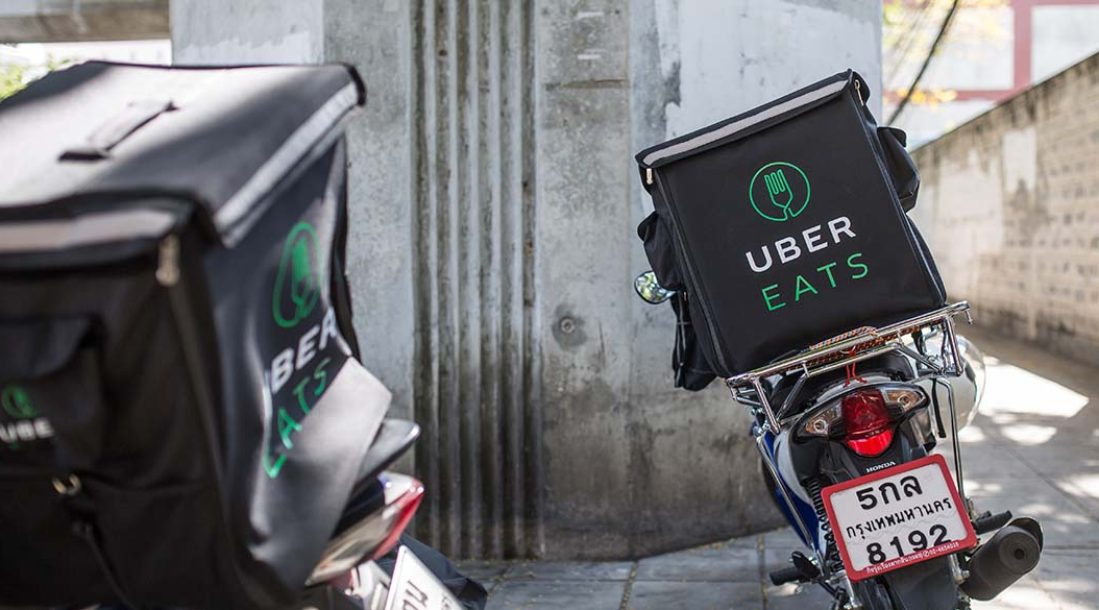 UberEATS food delivery app and cycle