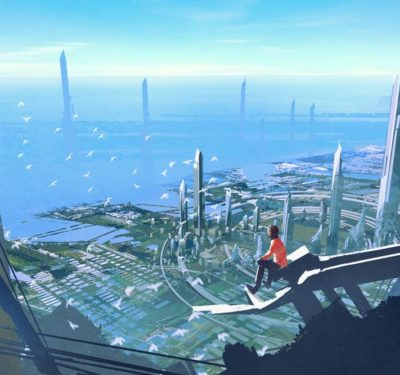 a photo showing an illustration of a a future city with technology offered by companies like Flower Turbines