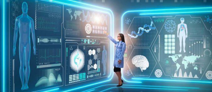 Doctor in Futuristic Diagnostic Room