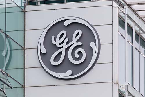 GE Sign on Building.