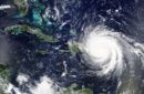 Aerial view of hurrican Maria approaching Puerto Rico