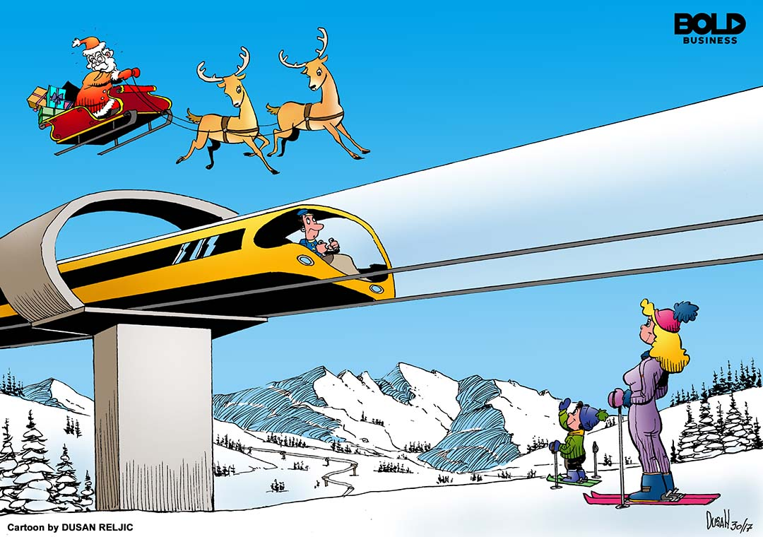 Hyperloop above a ski run in Colorado with Santa' sleigh in sky