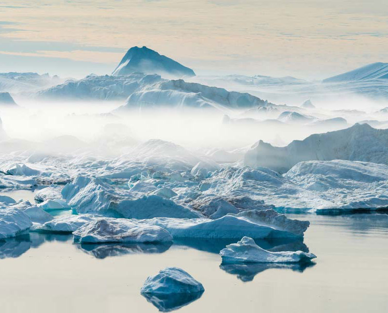 icebergs hold frozen gases
