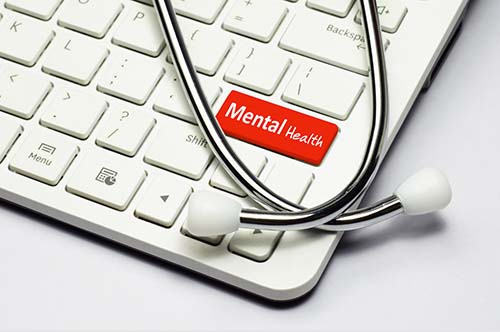 Keyboard with mental health key in red