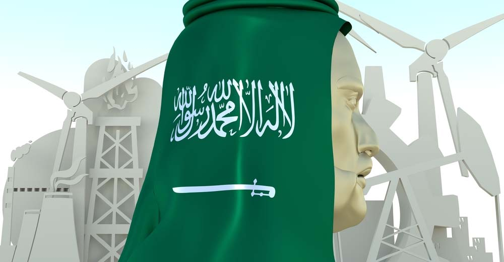 Rendering of Saudi businessman and icons of energy and production.