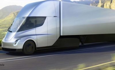 Futuristic rendering of the Telsa semi truck