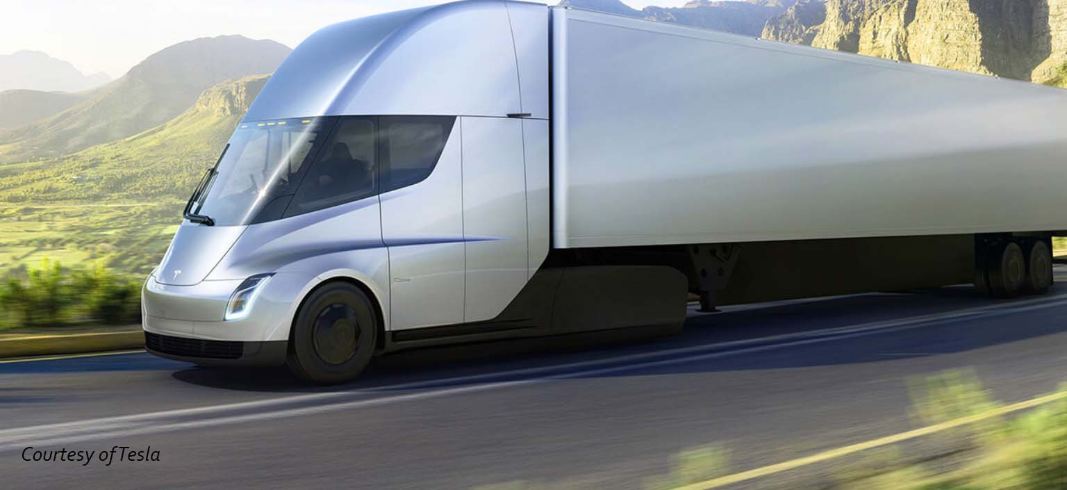 Futuristic rendering of the Telsa semi truck