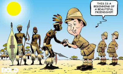 Cartoon of Chinese investment in africa, shaking hands with a Zulu