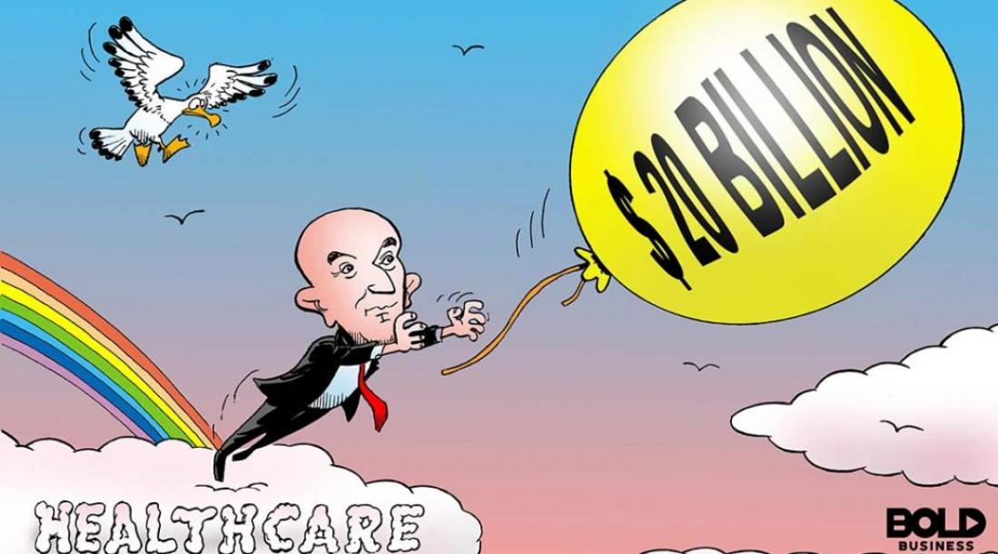 """cartoon of Jeff Bezos standing atop a cloud with the label """"HEALTHCARE"""" while trying to grab a $20-billion balloon, symbolizing Amazon inching closer toward having that amount in annual revenue even at this time it's looking into cloud computing for health services as it partners with Cerner"""