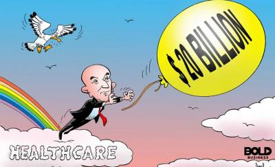 cartoon of Jeff Bezos standing atop a cloud with the label