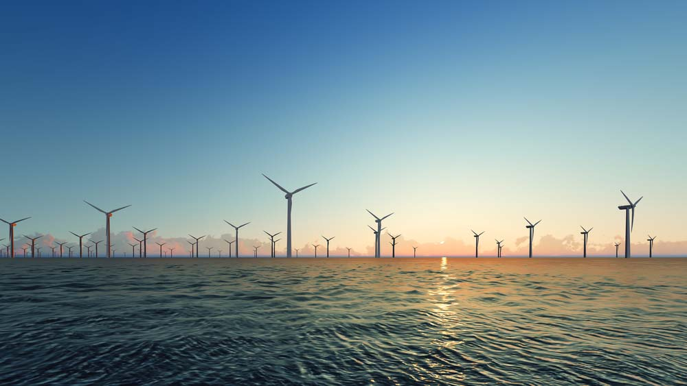 graphic of an offshore wind farm viewed from land