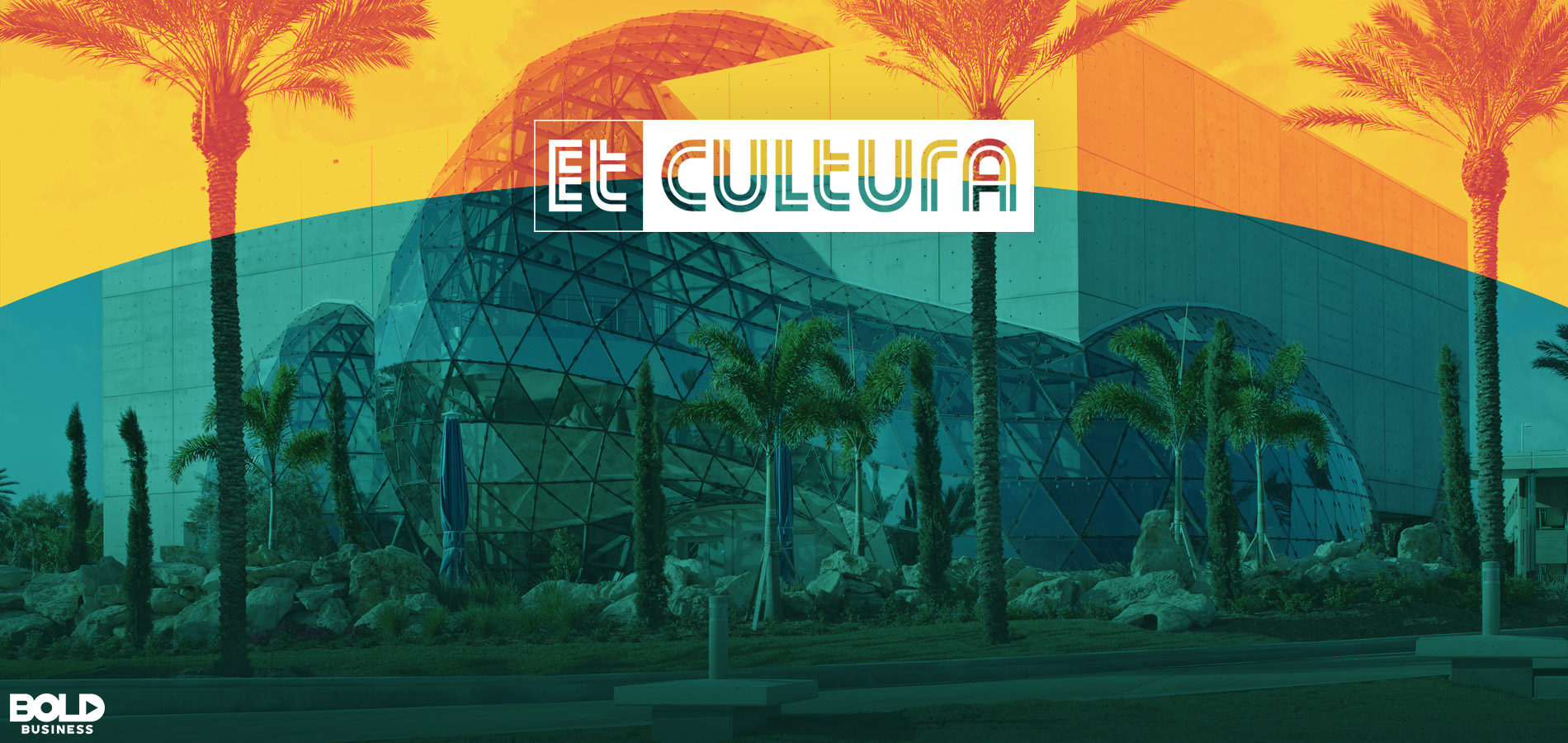 Et Cultura logo overlays palm tree lined street image