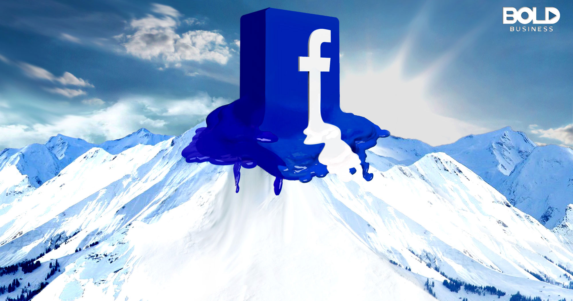 Facebook logo melting on a mountaintop - an Illustration of the company melting down because of Facebook Fake News Controversy