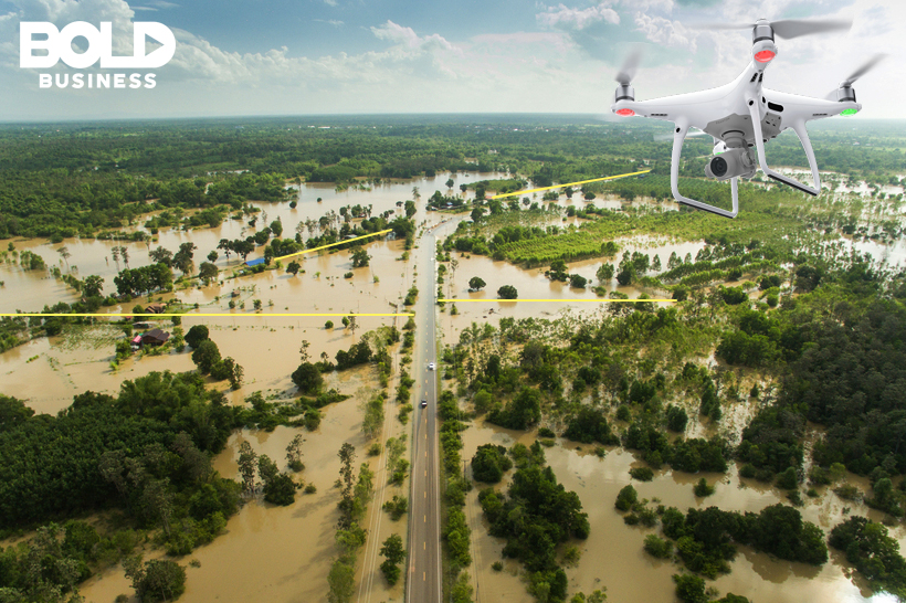 drone can locate the name of the street where a potential survivor or a trapped person might be