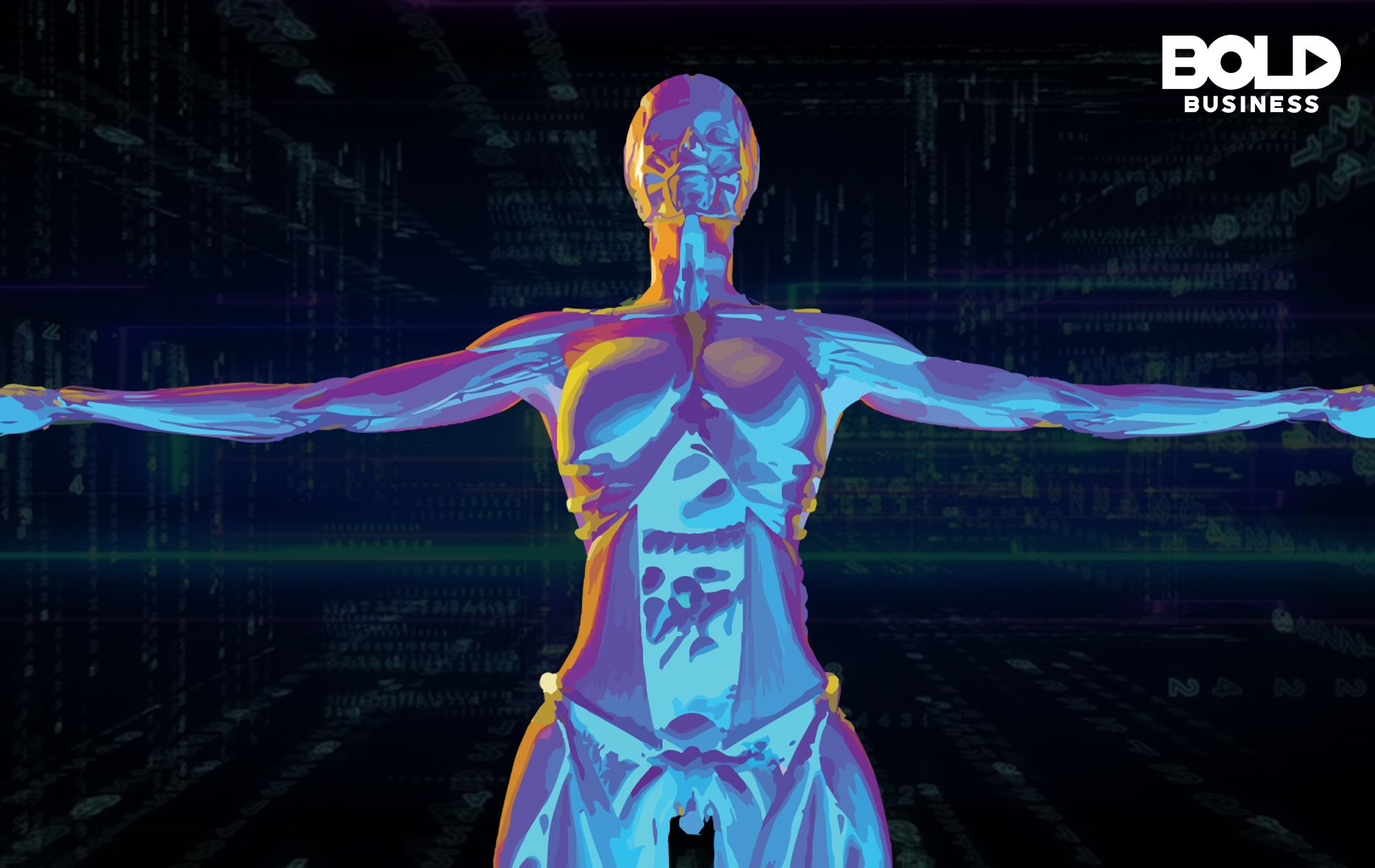an infrared-like image of a human body amid talks about big data in biology and health