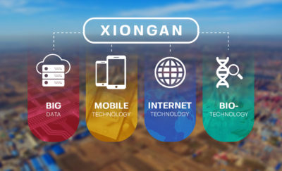 xiongan city tech icons overlaid on urban background