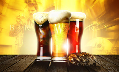 glasses of light, golden and dark beers