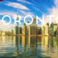 Toronto superimposed on an image of the city skyline