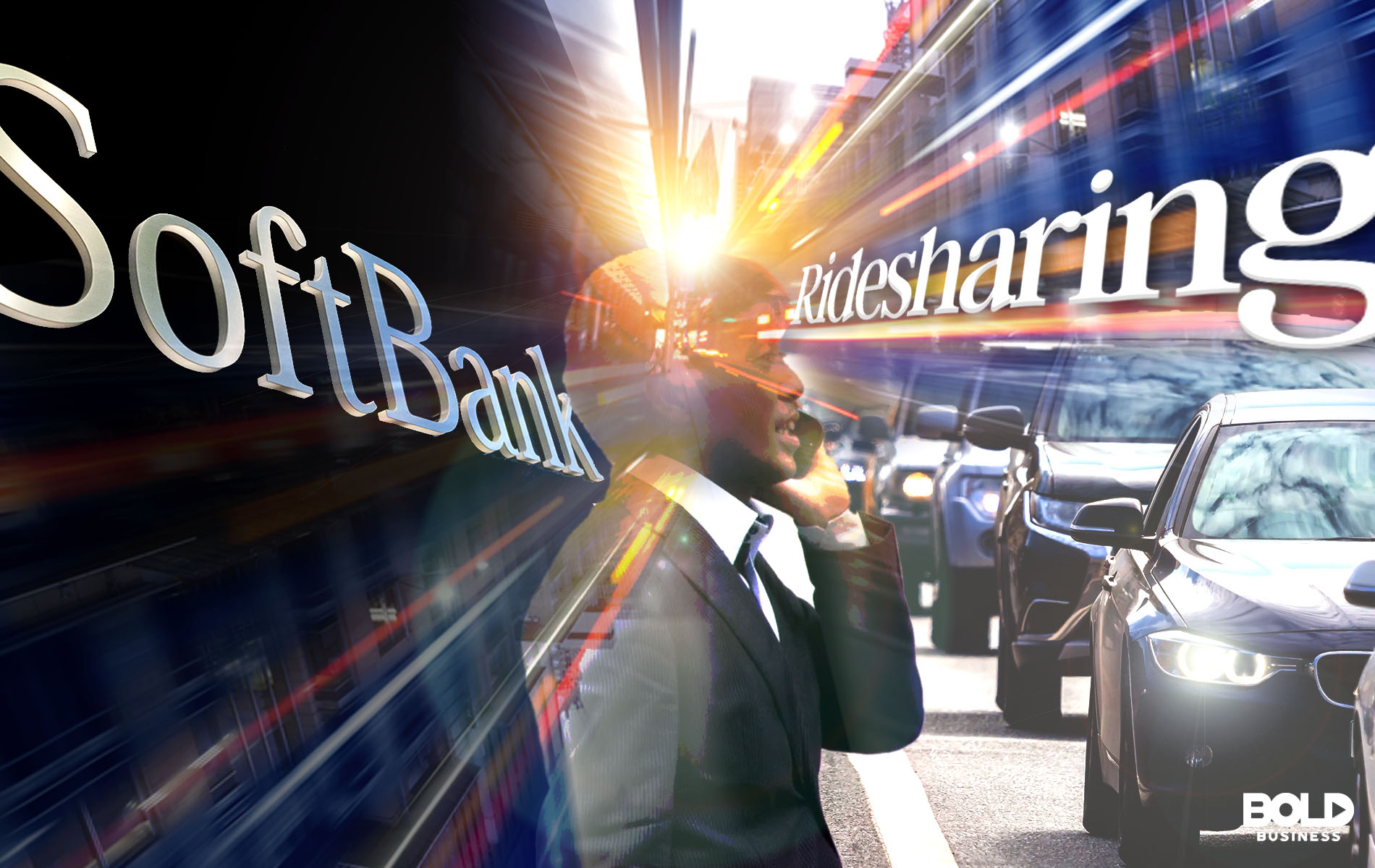 man on phone, cars on the road with SoftBank and ridesharing in text