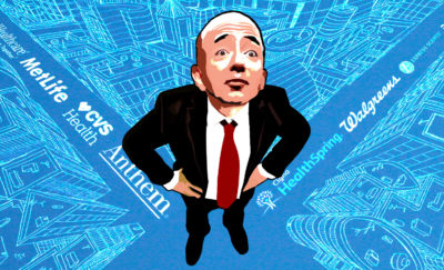 a cartoon drawing of Jeff Bezos standing in an intersection with his hands on his hips amid discussions about an Amazon Healthcare