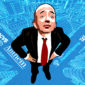 drawing of Jeff Bezos standing in an intersection with his hands on his hips