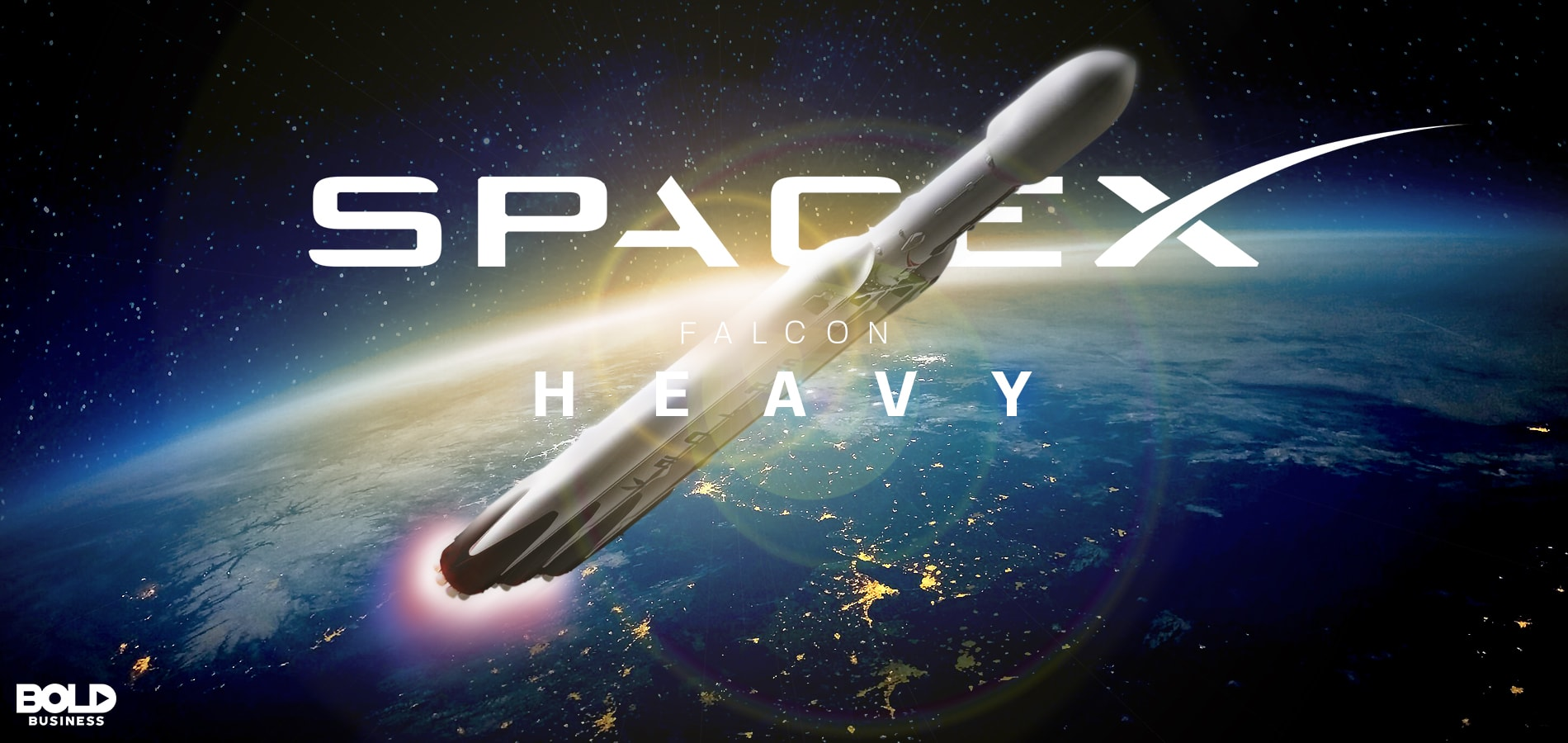 image of falcon heavy rocket in space