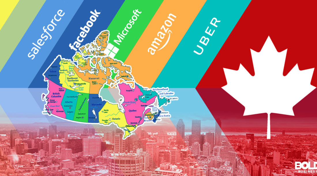 a photo of a diagram showing major tech companies with a Canadian Maple Leaf, amid the latest news about Salesforce Canada