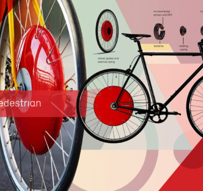 Drawing of a bicycle with a Superpedestrian Copenhagen wheel
