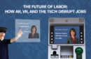 man wearing a virtual reality headset and some screen examples, the impact of technology on labour