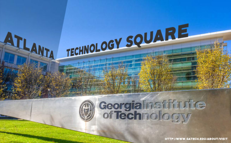 "a photo of the front of the Georgia Institute of Technology with the sign ""Atlanta Technology Square"" propped on top of the roof in relation to the topic of the Sacramento Urban Technology Lab"