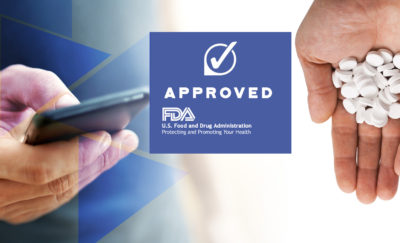 a photo of an official note that shows the FDA approval stamp for Abilify MyCite between two images, one of a a hand holding a smartphone and another of a hand cupping a bunch of white tablets