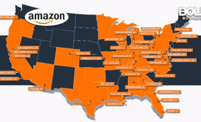 a photo showing the map of the United States with the states included in the Amazon HQ2 shortlist highlighted and an Amazon logo placed on the top left corner