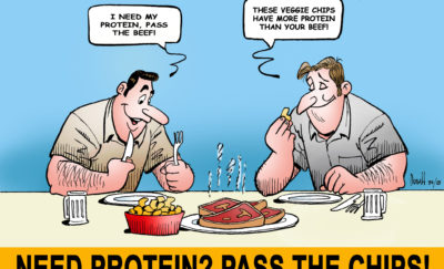 cartoon of two men eating chips and steak