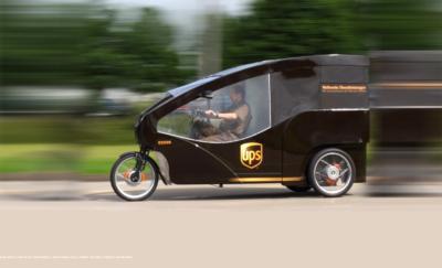 3-wheeled UPS mini vehicle in motion