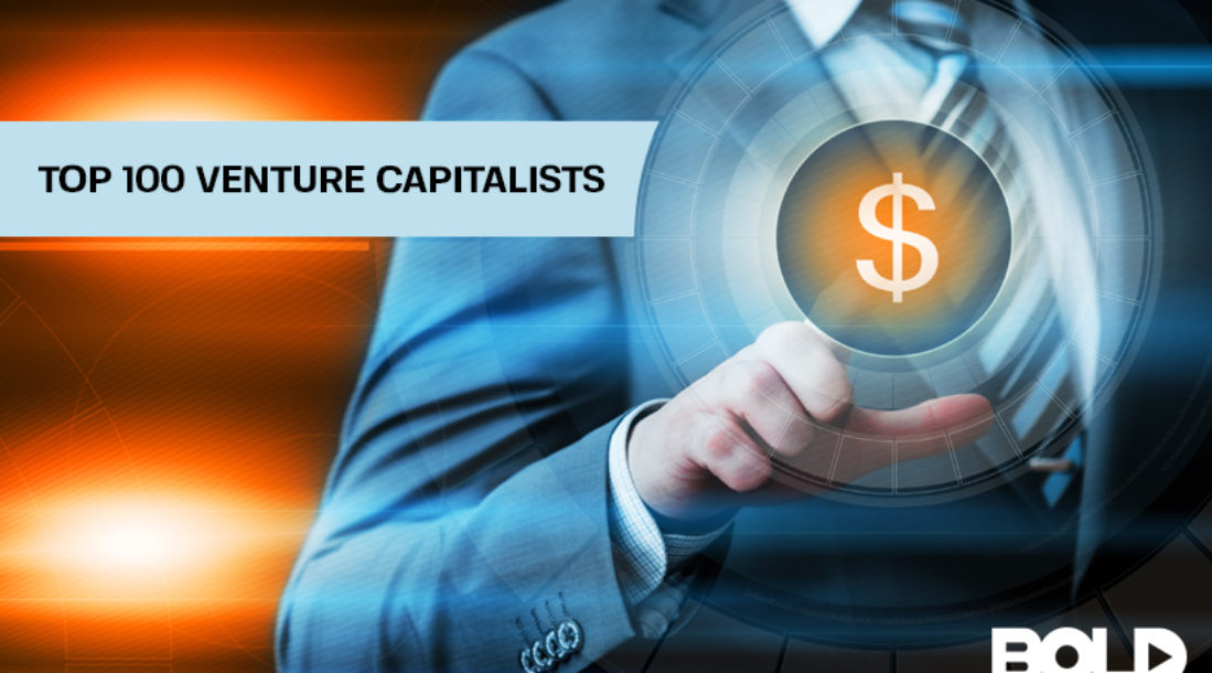 "a photo of a faceless man in a business suit pointing to a dollar sign beside the written words ""Top 100 Venture Capitalists"""