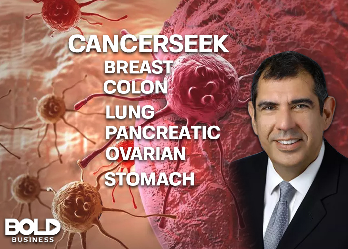 a photo of Dr. Nickolas Papadopoulos beside the names of 6 types of cancer and magnified images of cancer cells amid the creation of CancerSEEK Blood Test to help detect them